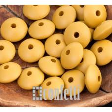 Бусины рондели акриловые матовые, цвет горчичный, 10*5 мм, B00290