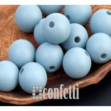 Бусины акриловые матовые, цвет серо-голубой, 13 мм, B00301