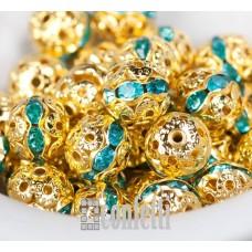 Бусины ажурные с хрустальными голубыми стразами, цвет золото, 8 мм, B00384