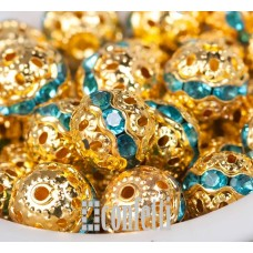 Бусины ажурные с хрустальными голубыми стразами, цвет золото, 10 мм, B00385