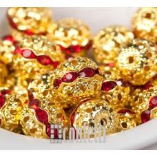 Бусины ажурные с хрустальными рубиновыми стразами, цвет золото, 10 мм, B00387