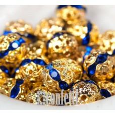 Бусины ажурные с хрустальными сапфировыми стразами, цвет золото, 8 мм, B00388