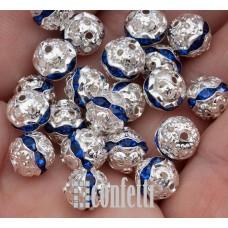 Бусины ажурные с хрустальными сапфировыми стразами, цвет серебро, 10 мм, B00393