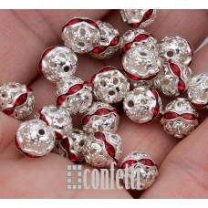 Бусины ажурные с хрустальными рубиновыми стразами, цвет серебро, 10 мм, B00394