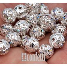 Бусины ажурные с хрустальными опалесцирующими стразами, цвет серебро, 10 мм, B00398
