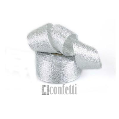 Лента парчовая 40 мм, серебро