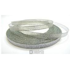 Лента парчовая 6 мм, серебро