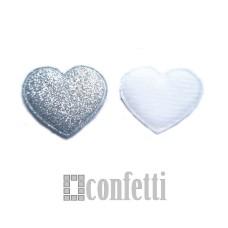 Патч Сердце с блестками, 35*32 мм, серебро