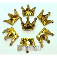 Патч Корона с пайетками, 53*40 мм, цвет золото