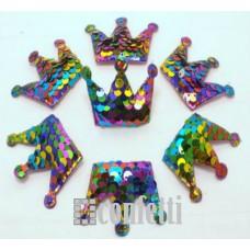 Патч Корона с пайетками, 53*40 мм, цвет радуга