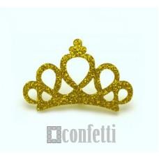 Патч Корона с блестками, 46*31 мм, цвет золото